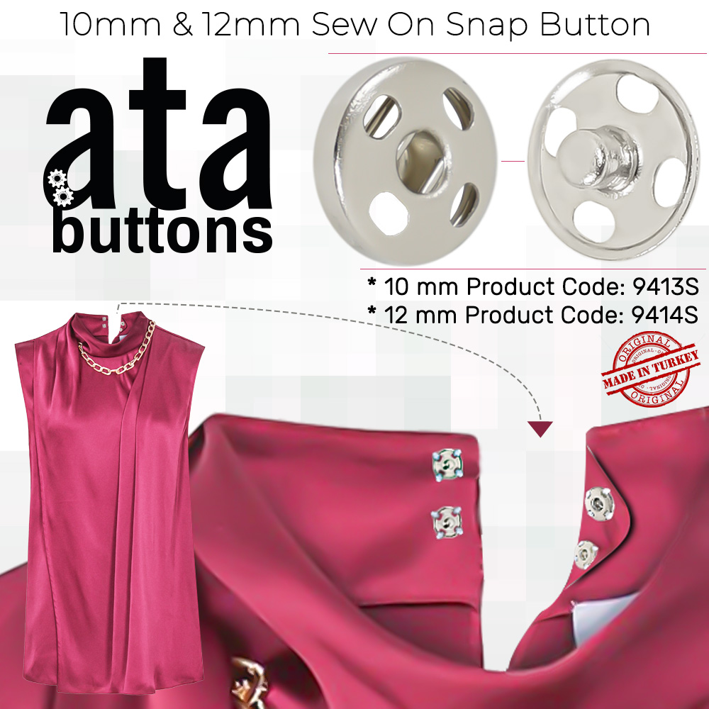 New Production - 10 mm & 12 mm Sew on Snap Button