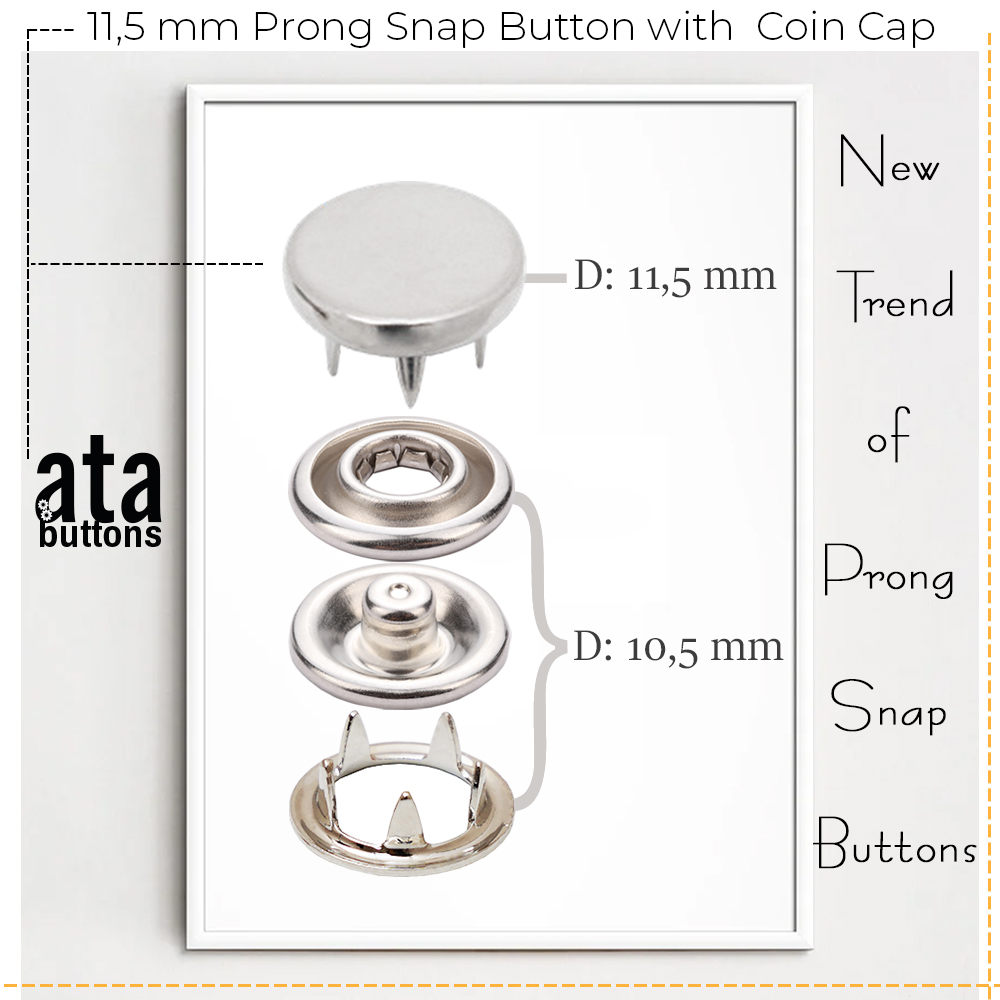 New Production - 11,5 mm Prong Snap Button with Coin Cap