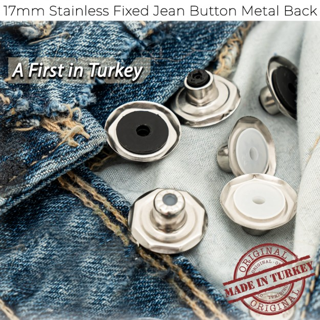 New Production - 17mm Stainless Fixed Jean Button Metal Back