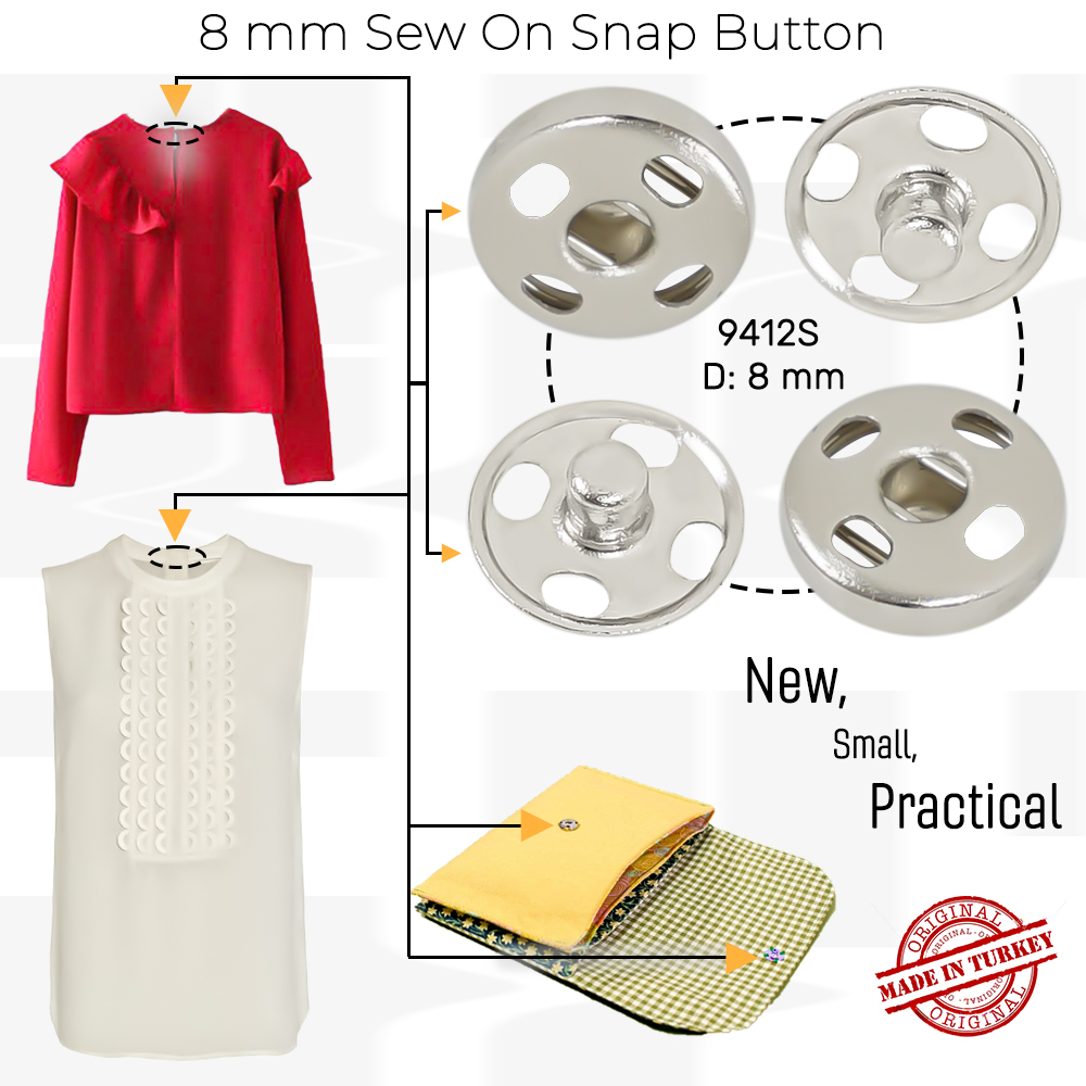 New Production - 8 mm Sew on Snap Button