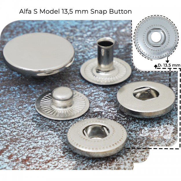 New Production - Alpha S Model 13,5 mm Spring Snap Button