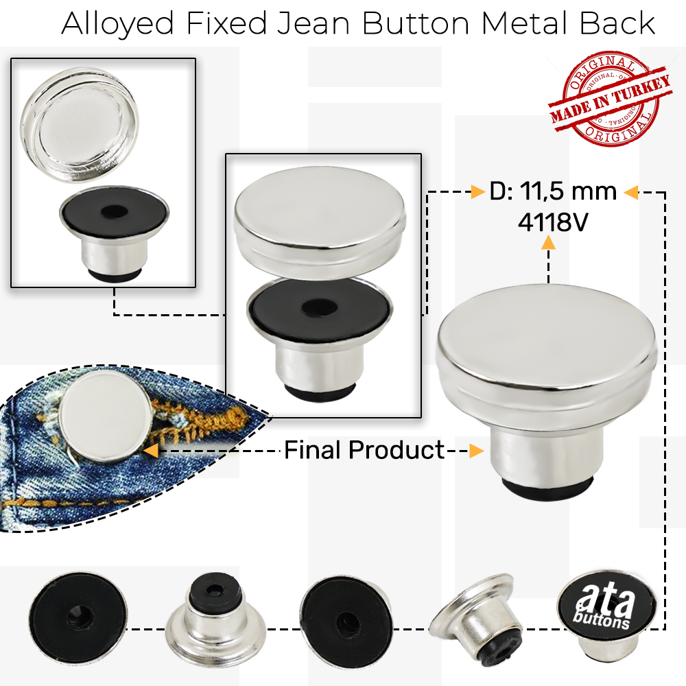 New Production - Alloyed Fixed Jean Button Metal Back