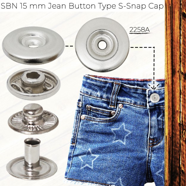 New Production - SBN 15 mm Jean Button Type Spring Snap Cap