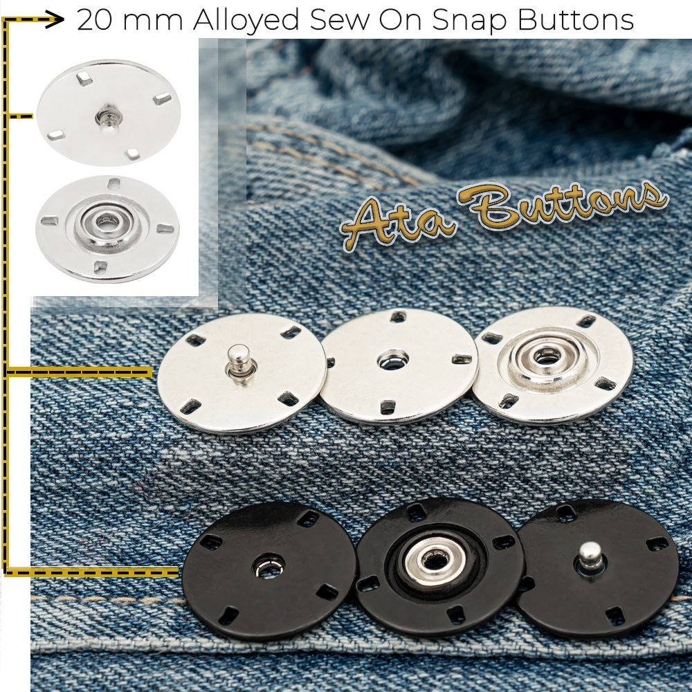 New Production - 20 mm Alloyed Sew on Snap Button